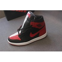 "Air Jordan 1 ""black red white "" 36-47"