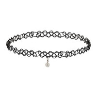 Pearl Drop Tattoo Choker - Black