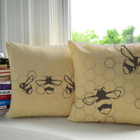 Bumblebee Pillow Covers and or Cushion Inserts, Honeybee Cotton Canvas Pillows, Honeybee Print, Bumblebee Illustration, Beehive, Honeycomb