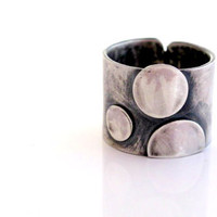 3 dots  slver band ring,oxidized handmade modern, Contemporary jewelery, Mmade to order.