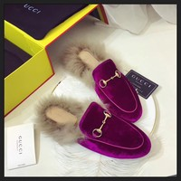 Best Online Sale Gucci Slip On Wool Slippers Purple For Women