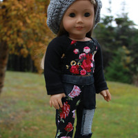 18 inch doll clothes, black floral crop top, black floral ripped super skinny jeans, crochet slouch style beret hat, american girl ,maplelea