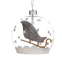 Lord & Taylor Glass Dome Sleigh Ornament