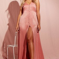 Plus Hammered Satin Button Through Maxi Dress | Boohoo