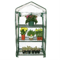 3-Tier Plastic Growing Rack Planter Stand Greenhouse with Thermal Cover