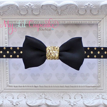 Black & Gold Baby Headband - Black and Gold Glitter Headband - Gold Polka Dot Headband - Petite Black Chiffon Bow - Black and Gold Baby Bow