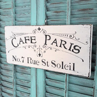 Cafe Pairs Shabby Chic Wood Kitchen Sign Wall Decor Plaque French White Cottage Chic French Provincial Wall Hanging