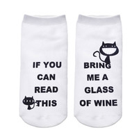 """2017 Funny White Ankle Socks/Women/""""If You Can Read This, Bring Me A Glass Of Wine"""" Kitty Cats"""