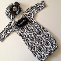 Newborn baby girl take me home hospital outfit gown black and white damask rhinestone
