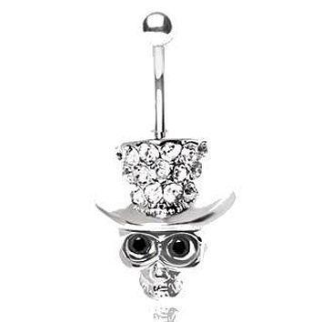 316L Surgical Steel Grinning Skull with Gemmed Top Hat Navel Ring