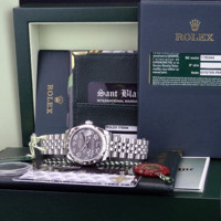 ROLEX MidSize 31mm 18kt WG/SS DATEJUST Smoke Silver Floral 178344 SANT BLANC