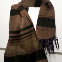Cashmere Men's Scarf - Green and Brown Scarf - Wool Men's Scarf - B10188