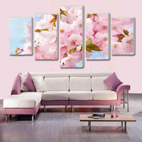 no framed Wall Art Picture Modular peach blossom pictures Canvas Print wall pictures living room cuadros decoracion 5 ppcs/set