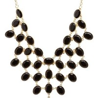 Clustered Stone Bib Necklace by Charlotte Russe