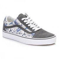 Vans Womens Floral Pewter and True White Old Skool Suede Trainers