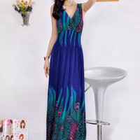 Peacock Print Sleeveless V-Neck Maxi Dress