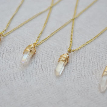 Gold Wire Wrapped Crystal Pendant Choker Necklace