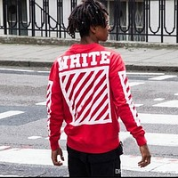 2017 OFF WHITE Hoodie Men Women Fashion Casual Sweatshirts Hooded Coat Long Sleeve Stripes Print Hip Hop Pullovers Outdoor Shirts Jackets
