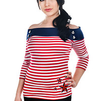 Nautical Stars and Anchors Striped Sailor Top