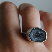 Smoky Blue Geode Ring in Sterling Silver