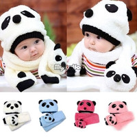 TrendyQueen- 2PCS Winter Warm Baby Toddler Soft Knit Crochet Hat Scarf = 1958289732