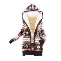 ACEFAST INC Women's Knited Thicken Warm Winter Hooded Cardigan Coats Sweater Tops