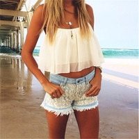 Fashion Summer White Halter Top Women Tank Sexy Sleeveless Halter Crochet Bustier Crop Top Chiffon Solid Short Tank Top 2016