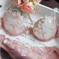 Collections - Intimates Pink Lace Bra and Panties Set
