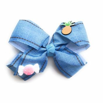 """5"""" Gross Grain Blue Jean Hair bow with Pineapple and Candy"""