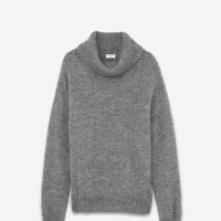 SAINT LAURENT OVERSIZED GRUNGE TURTLENECK IN HEATHER GREY MOHAIR, NYLON AND WOOL | YSL.COM