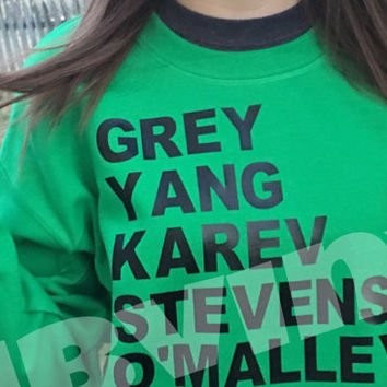 Greys Anatomy Squad shirts Grey Yang Karev omalley stevens SWEATSHIRT! Read Our Shops policies FIRST