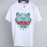 Kenzo 2019 new embroidered letters couple models round neck loose T-shirt white