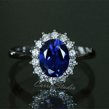 Royal Style Oval Sapphire Ring Lab Sapphire Engagement Ring/ Wedding Ring 925 Sterling Silver Ring Anniversary Ring Promise Ring