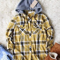 The Easton Plaid Hoodie in Mustard