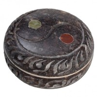 Soapstone Herb Grinder - Carved Yin Yang Lid - 2-part