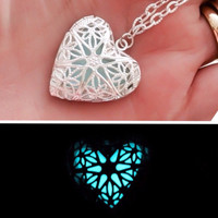 """Magical Frozen Heart ice blue glowing illuminating pendant necklace - silver plated 14"""" (childs) 18"""" 20"""" or 24"""" chain love mothers day"""