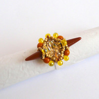 Spike coctail ring with crystal navette, beaded ring adjustable, beadwork ring,  unique shape