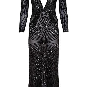 'Halstyn' Keyhole Sequin Maxi Dress - Black