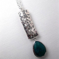Vertical Bar Necklace With Green Jade Drop - Silver Bar - Custom Chain Length - Christmas Gift