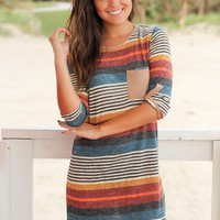 Striped Short Dress with Suede Pocket