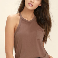 Others Follow Allyson Washed Brown Tank Top