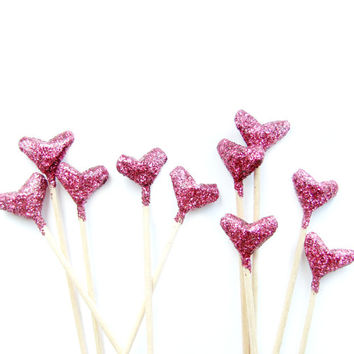 10 Pink Glitter Origami Heart Cupcake Toppers - Birthday, Wedding, Engagement Party, Tea Party, Valentines, Anniversary