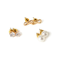 FOREVER 21 Infinity Earring Set Gold/Clear One