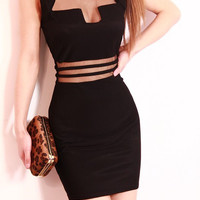 Sleeveless Cut-Out Mesh Bodycon Mini Dress