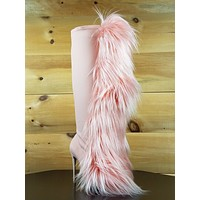 """Nelly B Bank Roll Pink Blush Stretch Furry Pom Pom Knee Boot 5"""" High Heels Boots"""