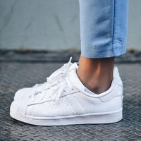 """Adidas"" Shell-toe Sneakers Sport Shoes Pure Color Flats Roses"
