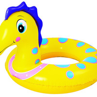 "24"" Yellow and Blue Seahorse Children's Inflatable Swimming Pool Inner Tube Ring"