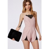 Missguided - Eyelash Lace Detail Romper Dusky Pink