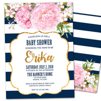 Navy and Pink Peony Girl Baby Shower Invitations