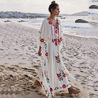 Boho Floral Embroidered Kaftan Women Dress V-Neck with Tassels Dress OverColord Batwing Sleeve Swimsuit Beach Dress